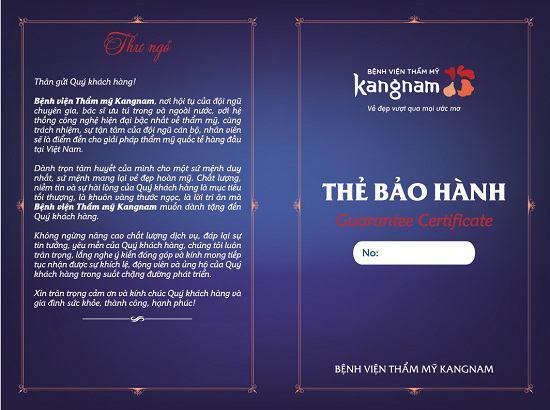 Thẻ bảo hành nếp mí tại BVTM Kangnam