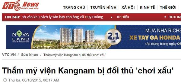 thẩm mỹ viện kangnam đồng nai đà nẵng là giả mạo