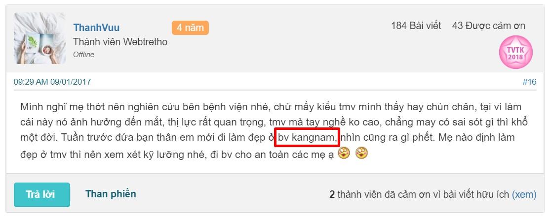 chữa mí mắt sụp ở Bệnh viện Kangnam Hà Nội